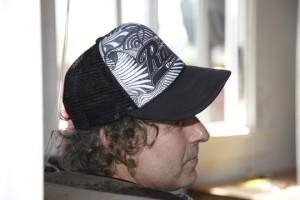 Resized Black Script Hat w Custom Design Eve